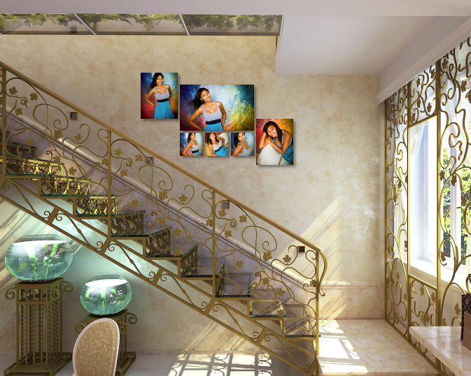 Canvas Cluster Wall Art on Stairs matching home decor